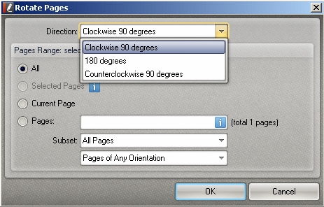 Rotate Pages dialog