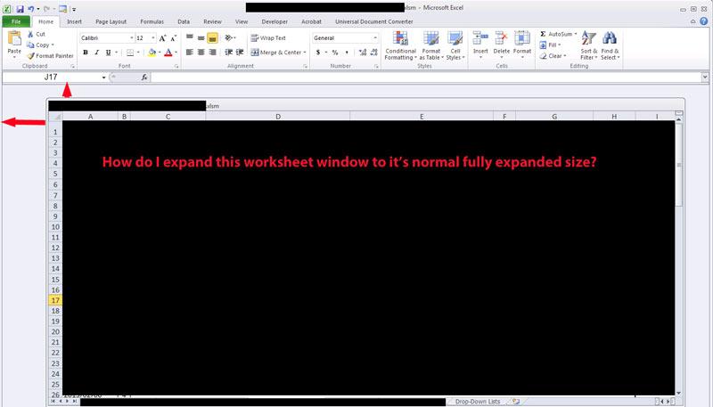 Excel 2010 Worksheet Window Shrunk
