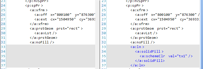 Location of the differences in XML, in the SDK tool