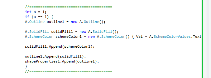 Snapshot showing the differential code added to the Generated code above