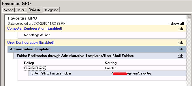 Group Policy Manager Settings View of GPO