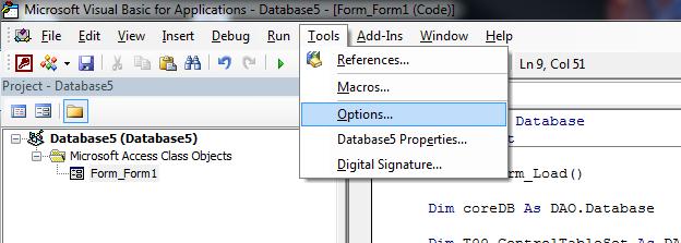 VBA IDE- Tools menu