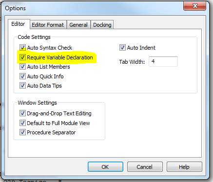 Require Variable Declaration
