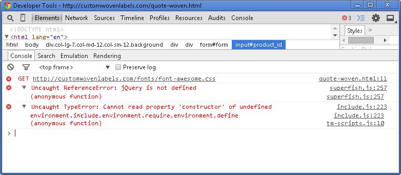 Error loading scripts