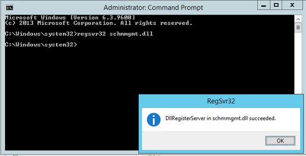 You should receive a message that schmmgmt.dll registration succeeded.  Press OK to acknowledge the message box.