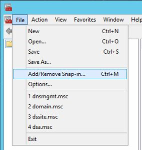 With the Microsoft Management Console open, select File --> Add/Remove Snap-in...