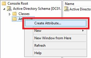 Right-click on 'Attributes' and select 'Create Attribute...'.