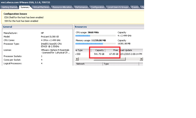 VSphere Client - Stoarge Status