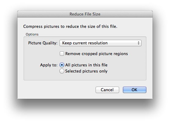 PowerPoint 2011 Reduce File Size settings