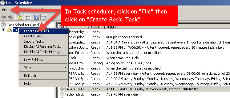 Create basic scheduling Task