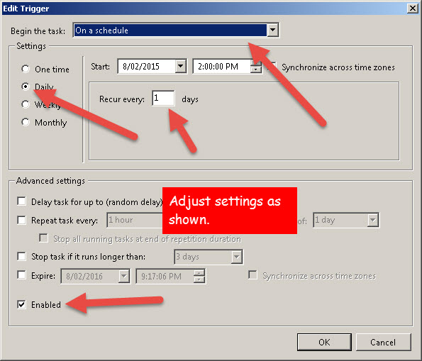 """Adjust settings on """"Trigger"""" Tab"""