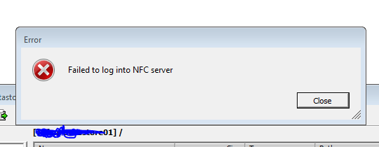 failed to login to the NFC server