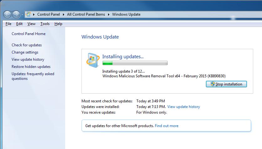 Windows Update 3 of 12 not installing