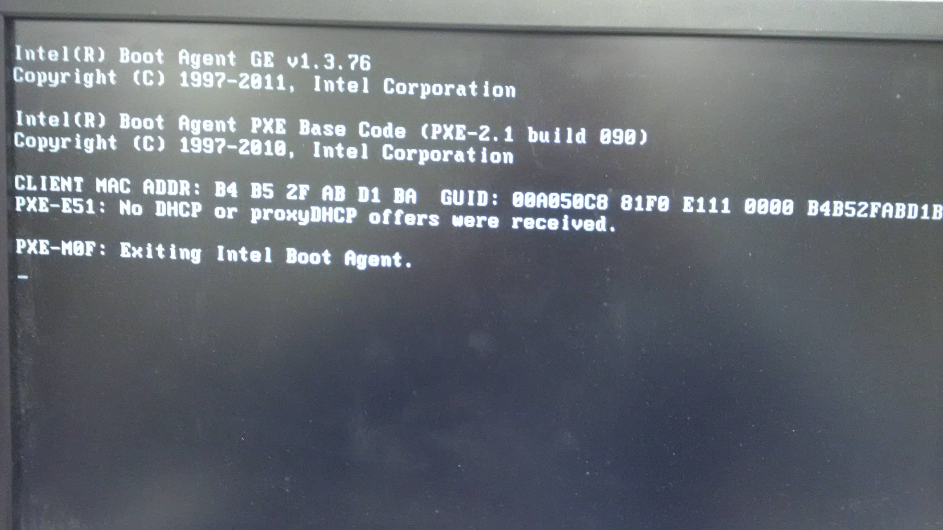 PXE DHCP issues
