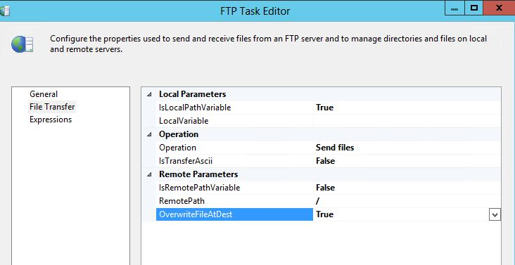 This is what my FTP task looks like (I scrubbed variable name)
