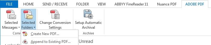 Outlook 2013 create PDF of folders