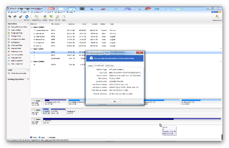 Screenshot of my 3TB drive after GPT & adding Partition
