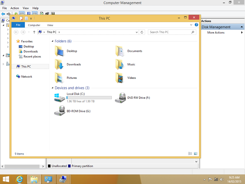 This shows the resulting HD after W8.1 installation