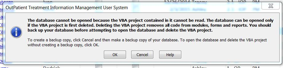 The database cannot be opened because the VBA project contained in