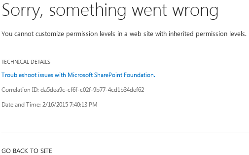 Subsite with problems: http://sharepoint/subsite1/_layouts/15/addrole.aspx