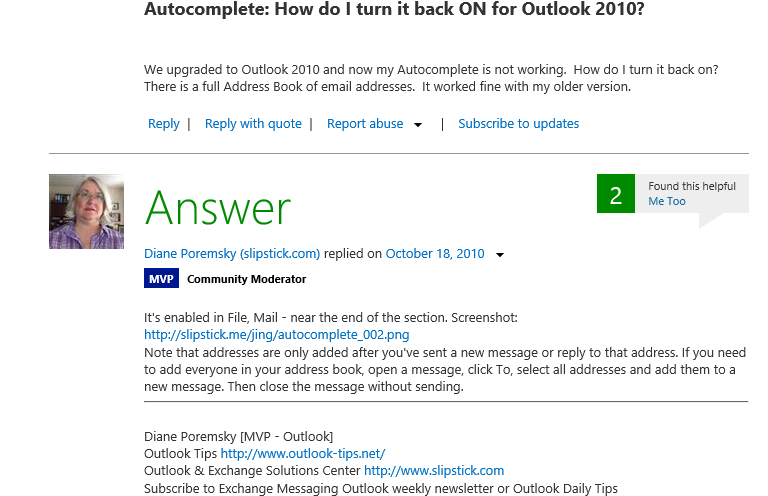 Outlook Autocomplete Answer.