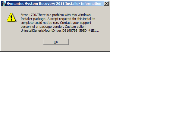 ERROR WHILST REMOVING SSR2011