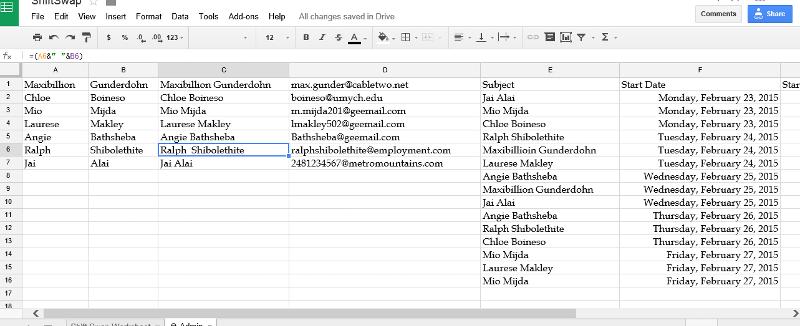 Screen Grab of Admin Worksheet.