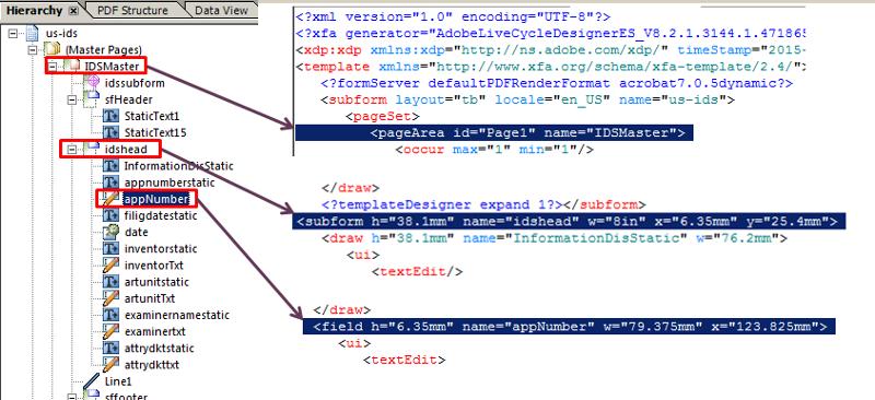 XFA Hierarchy - XML snippets