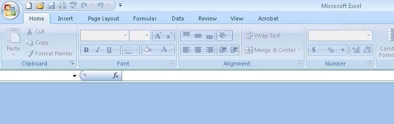 Excel 2007 menu, blank sheet