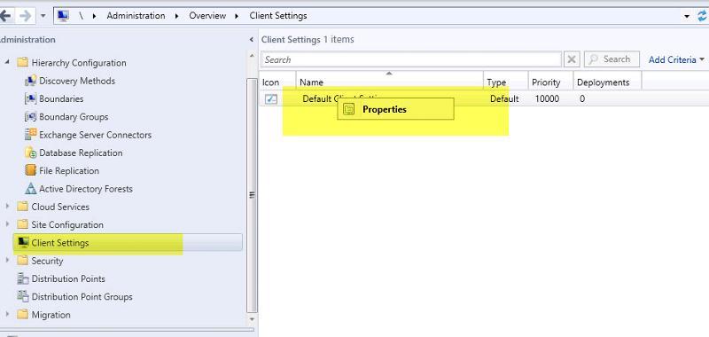 SCCM 2012 Default Client Settings