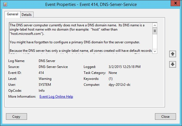 DNS event 414 on my DC