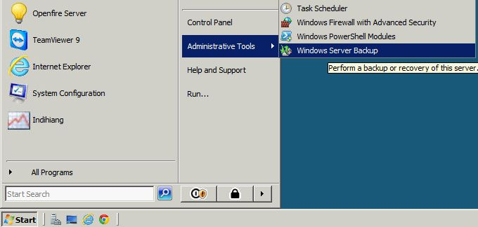 Once the install is completed, you can access Windows Server Backup here.