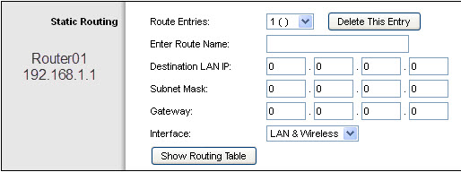 Router01 - Advanced Rout Settings