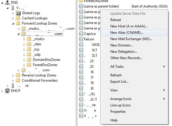 DNS console right-click menu