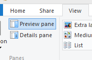 click on preview pane to hide/show it