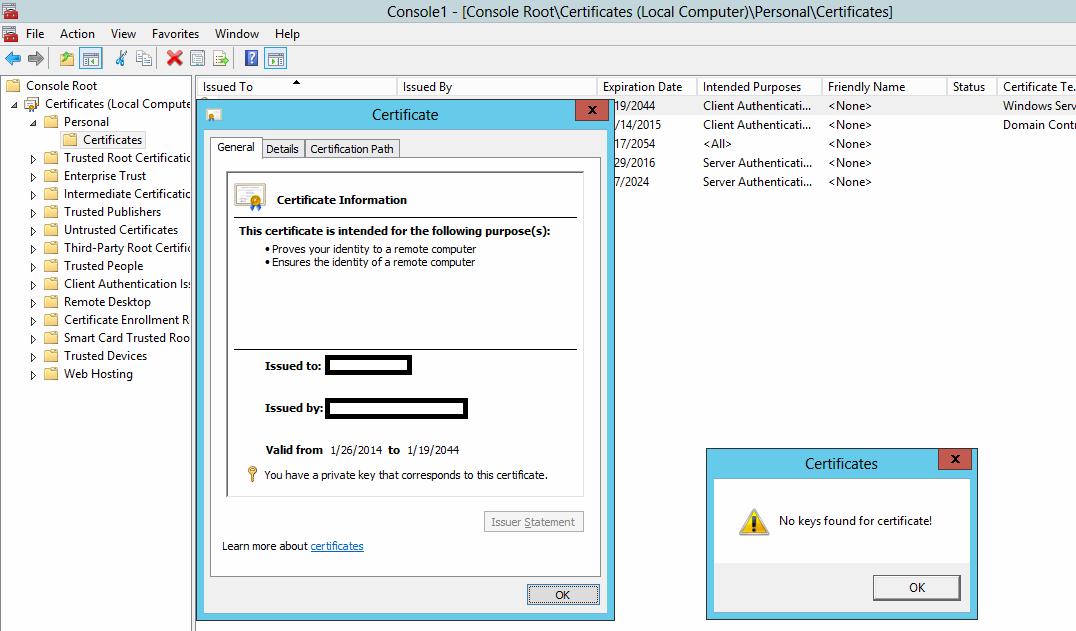 Certificate issue on Server 2012 Essentials
