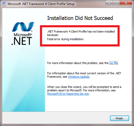 Windows 7 cannot install .NET Framework