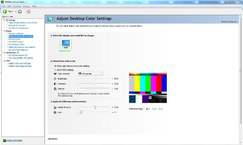 Nvidia control panel adjust desktop colour settings