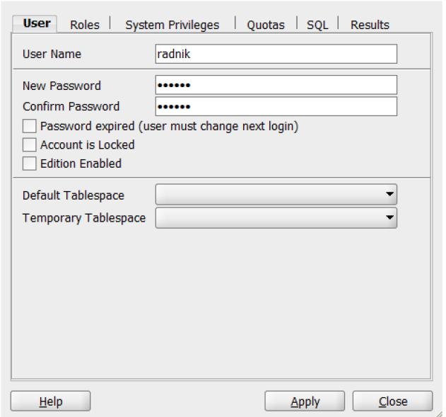 adding user in SQL developer