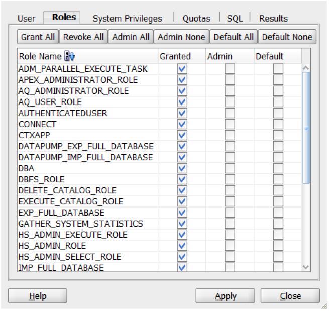 granting privileges to user in SQL developer