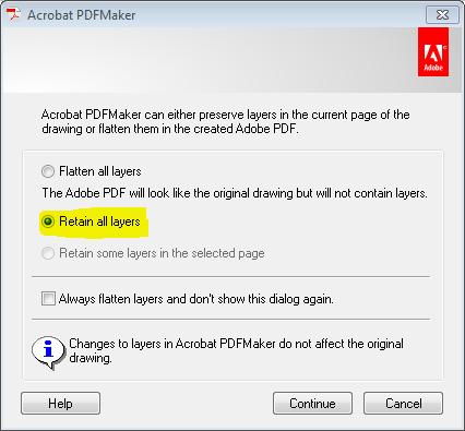 Acrobat PDFMaker layer dialog