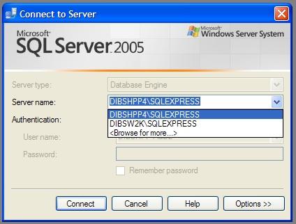 SSMS login window