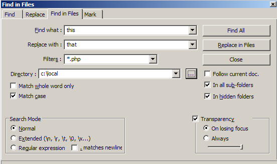 Notepad++ Find in files