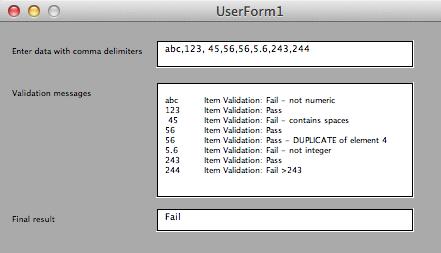 Screenshot showing data, validation and final result