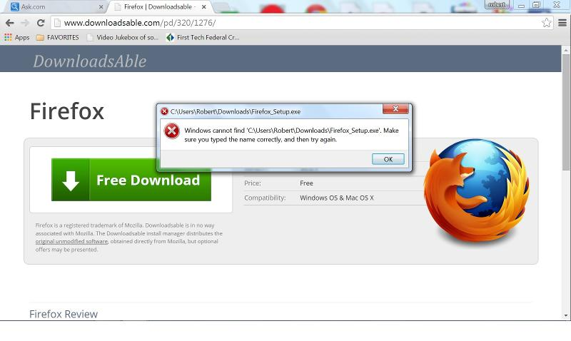picture of attempt to download firefox to my desktop