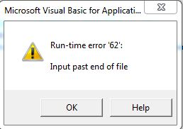 input past end of file
