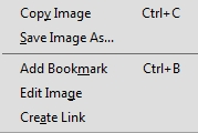 Acrobat context menu on image