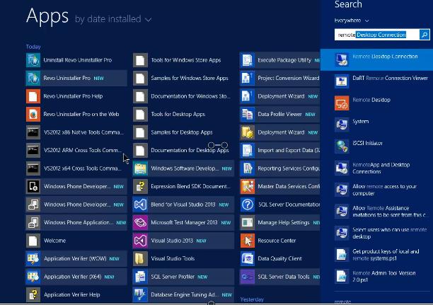 Type remote desktop