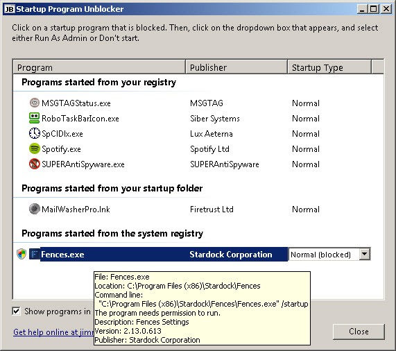 A program blocked in the startup processes