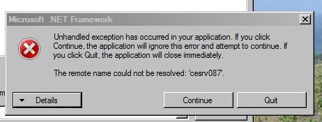 .NET Framework Unhanddled exception has occurred in your application...